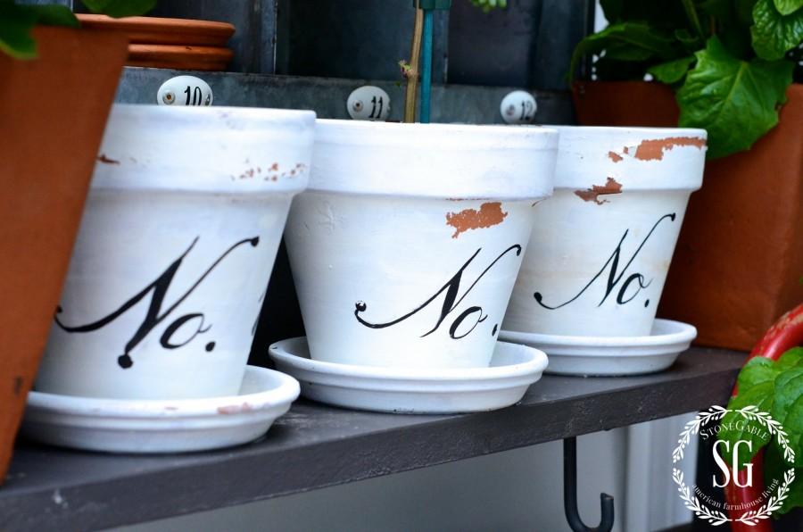 SUMMER POTTING BENCH-white numbered pots-stonegableblog.com
