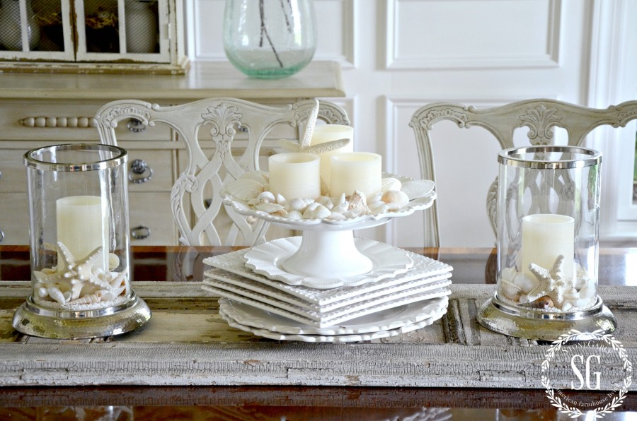 10 MINUTE SUMMER DECORATING- shells on the dining room table-stonegableblog.com