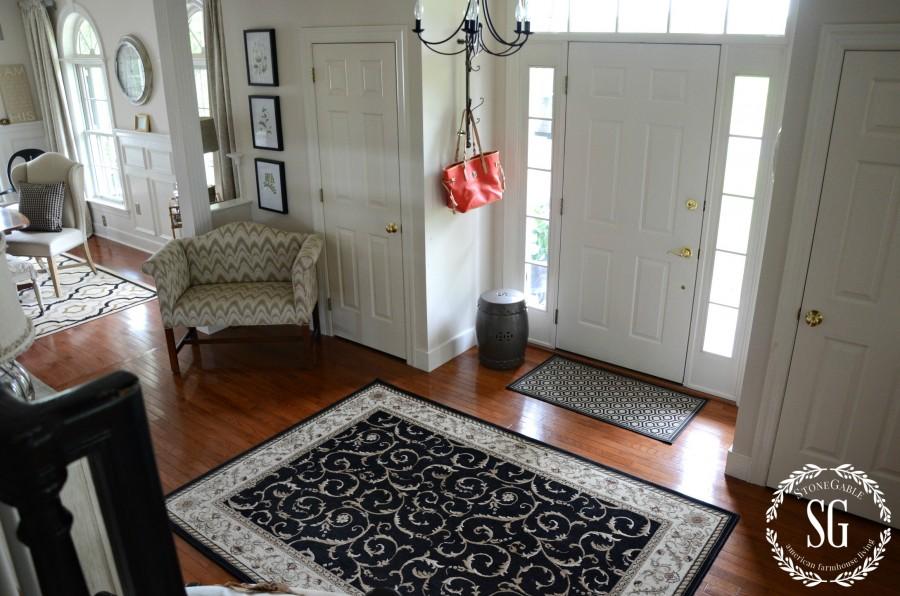 CREATING A WELCOMING FOYER-front door-rug by the front door-stonegableblog.com