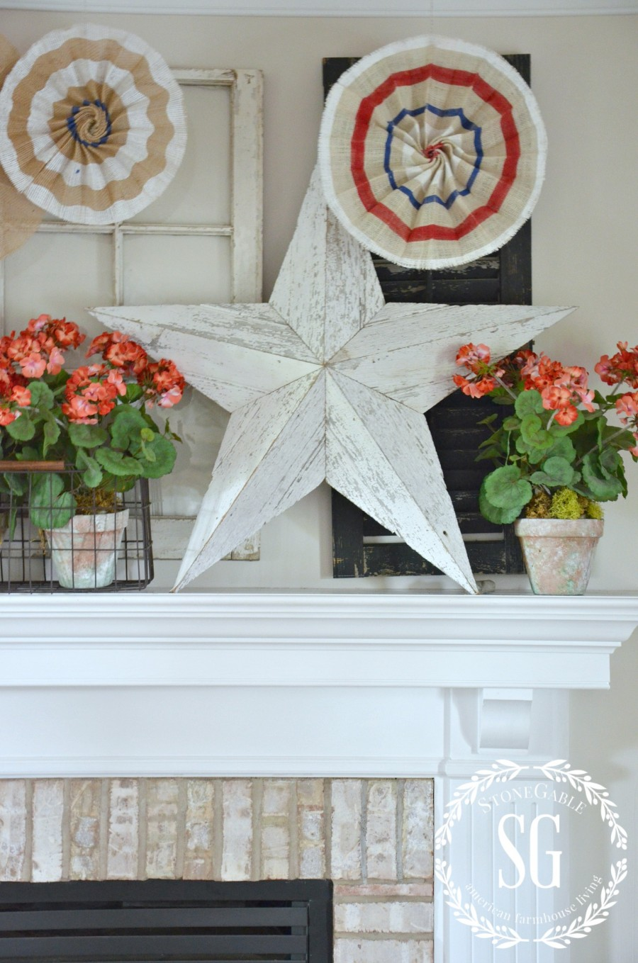 NO SEW POTTERY BARN INSPIRED PATRIOTIC STARS-stars on the mantel-stonegableblog.com