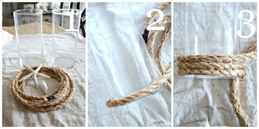 POTTERY BARN INSPIRED ROPE WRAPPED CANDLE HOLDER DIY-instructions 1 to 3-stonegableblog.com