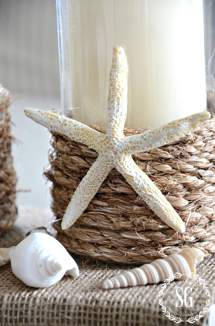 POTTERY BARN INSPIRED ROPE WRAPPED CANDLE HOLDER DIY-organic-beach chic-stonegableblog.com
