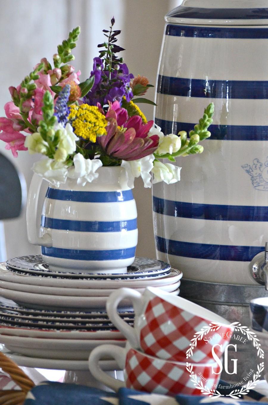 SUMMER FARMHOUSE KITCHEN VIGNETTE-red-white-blue-dishes-stonegableblog.com