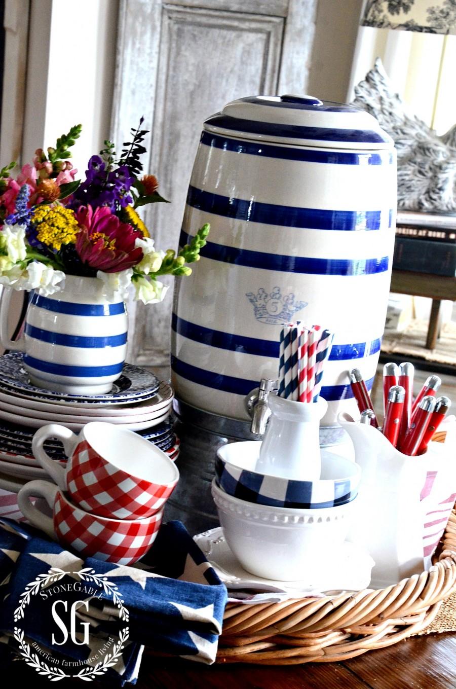 SUMMER FARMHOUSE KITCHEN VIGNETTE-round basket-star napkins-stonegableblog.com
