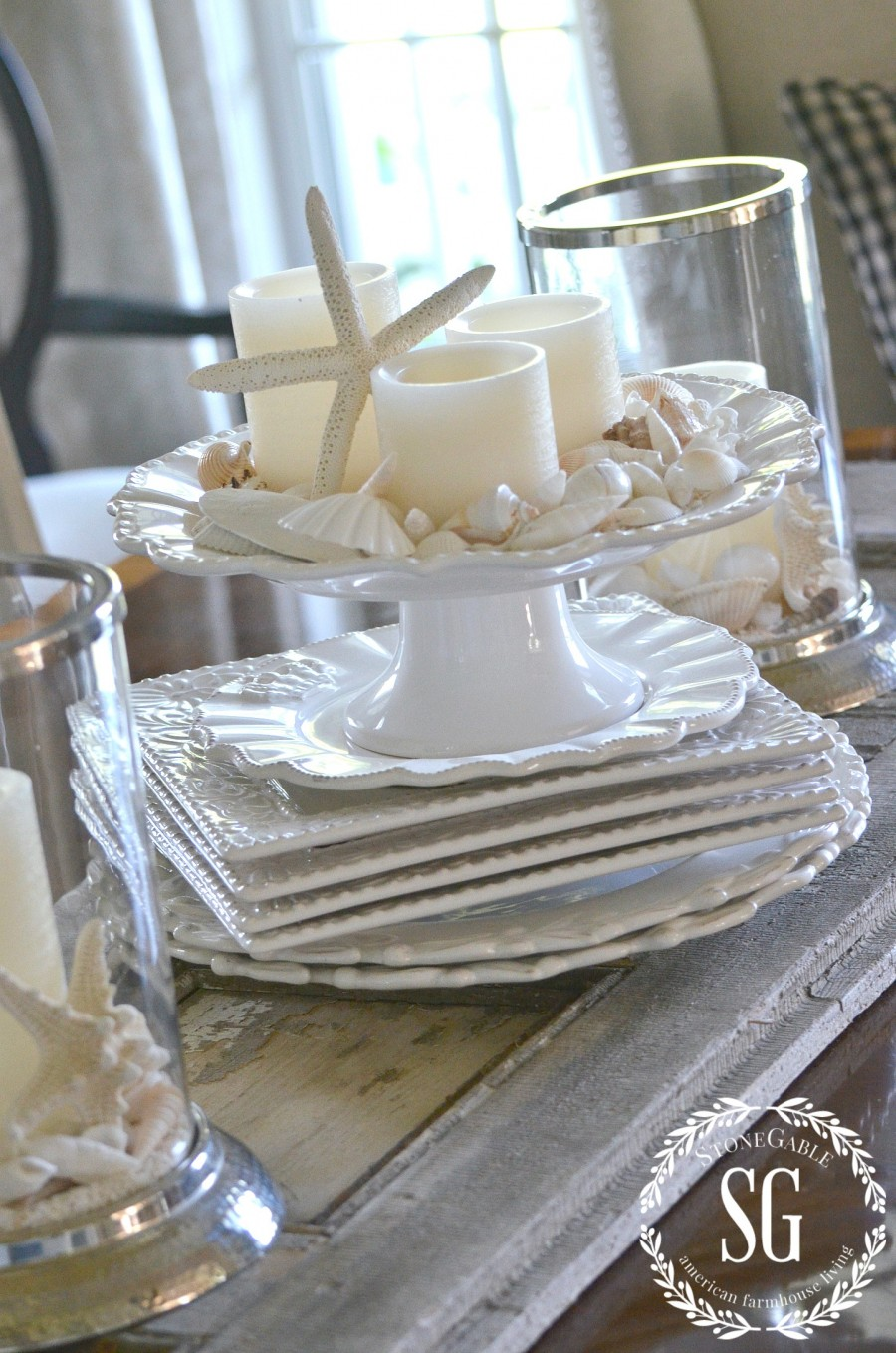 SUMMER HOME TOUR-Dining room-candles-shells-stonegableblog.com