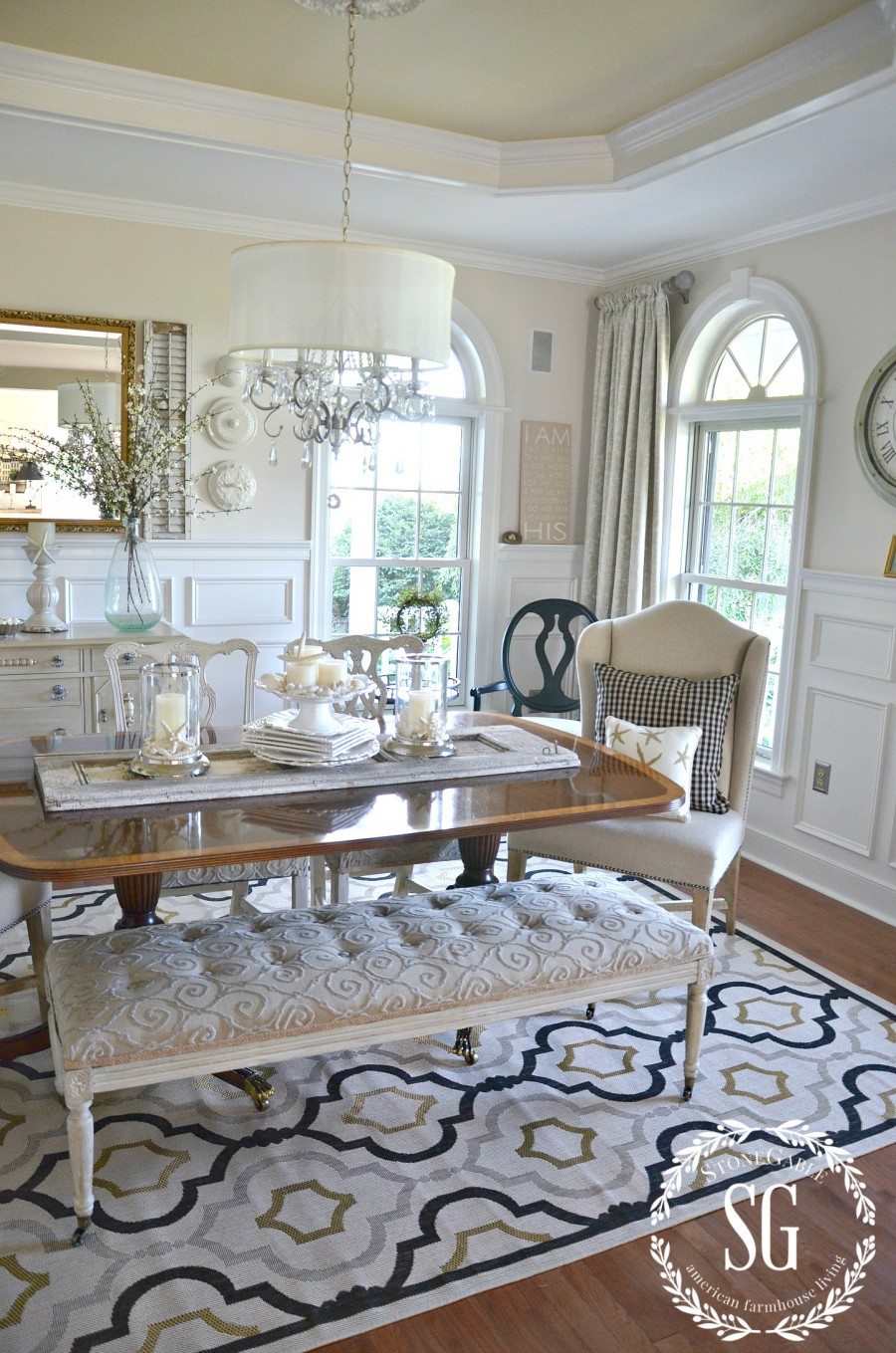 SUMMER HOME TOUR-Dining room-rug-clock-stonegableblog.com
