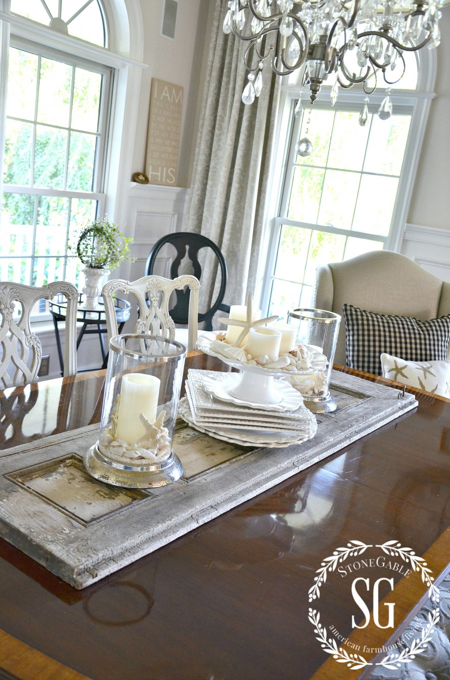 SUMMER HOME TOUR-Dining room-table-shells-stonegableblog.com