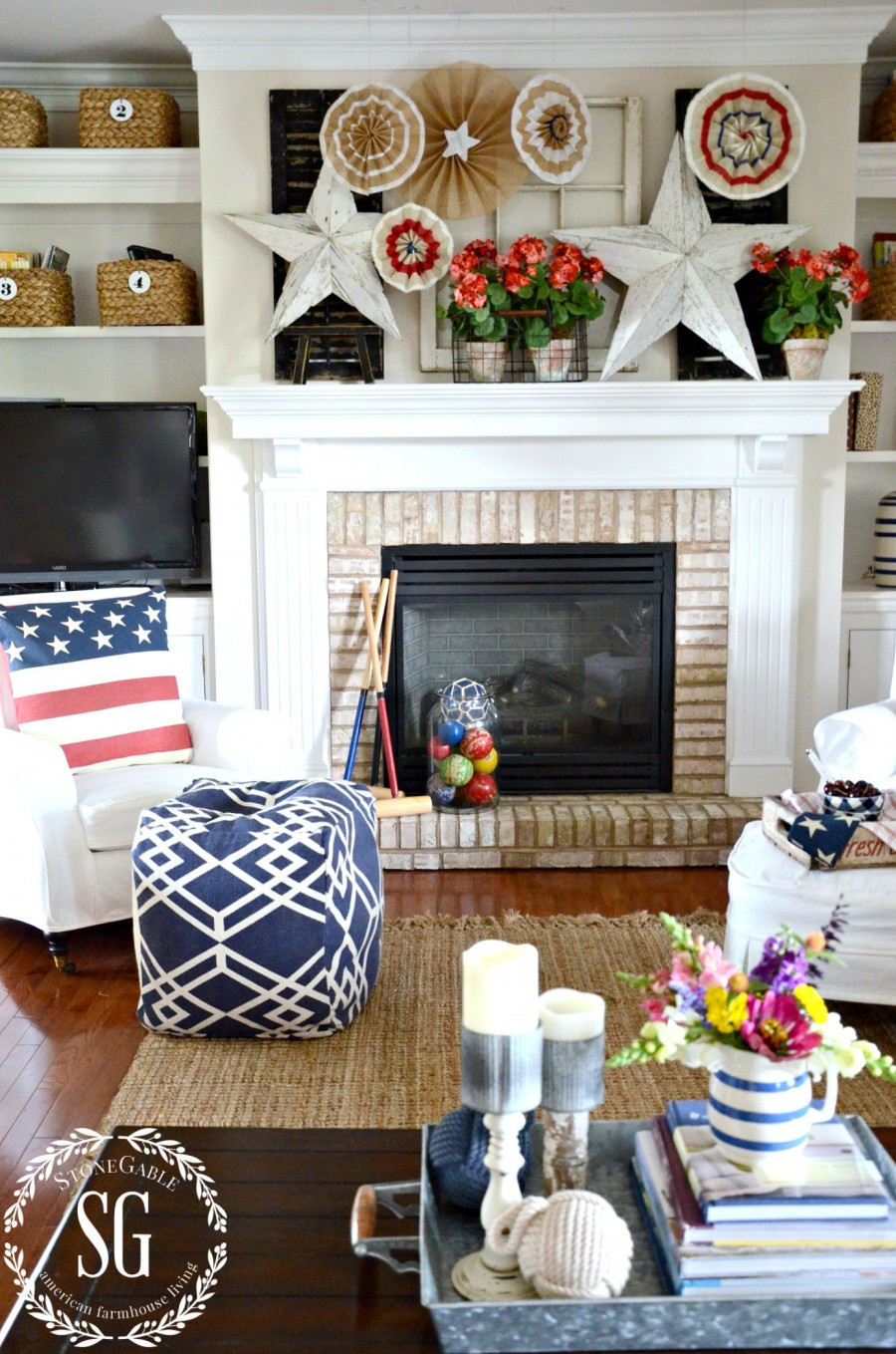 SUMMER HOME TOUR-family room-patriotic stars-fire place-stonegableblog.com