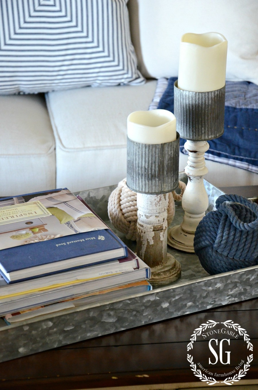 SUMMER HOME TOUR-family room- vignette-galvanized metal-stonegableblog.com