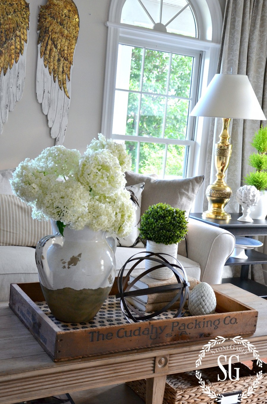 SUMMER HOME TOUR-living room-coffee table-vignette-stonegableblog.com