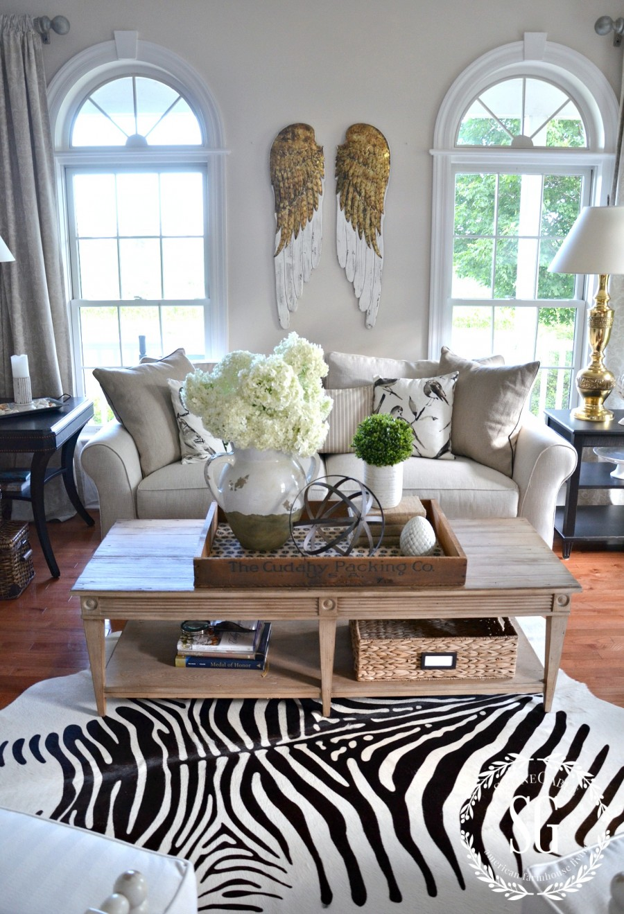 SUMMER HOME TOUR-living room-sofa-coffee table-stonegableblog.com