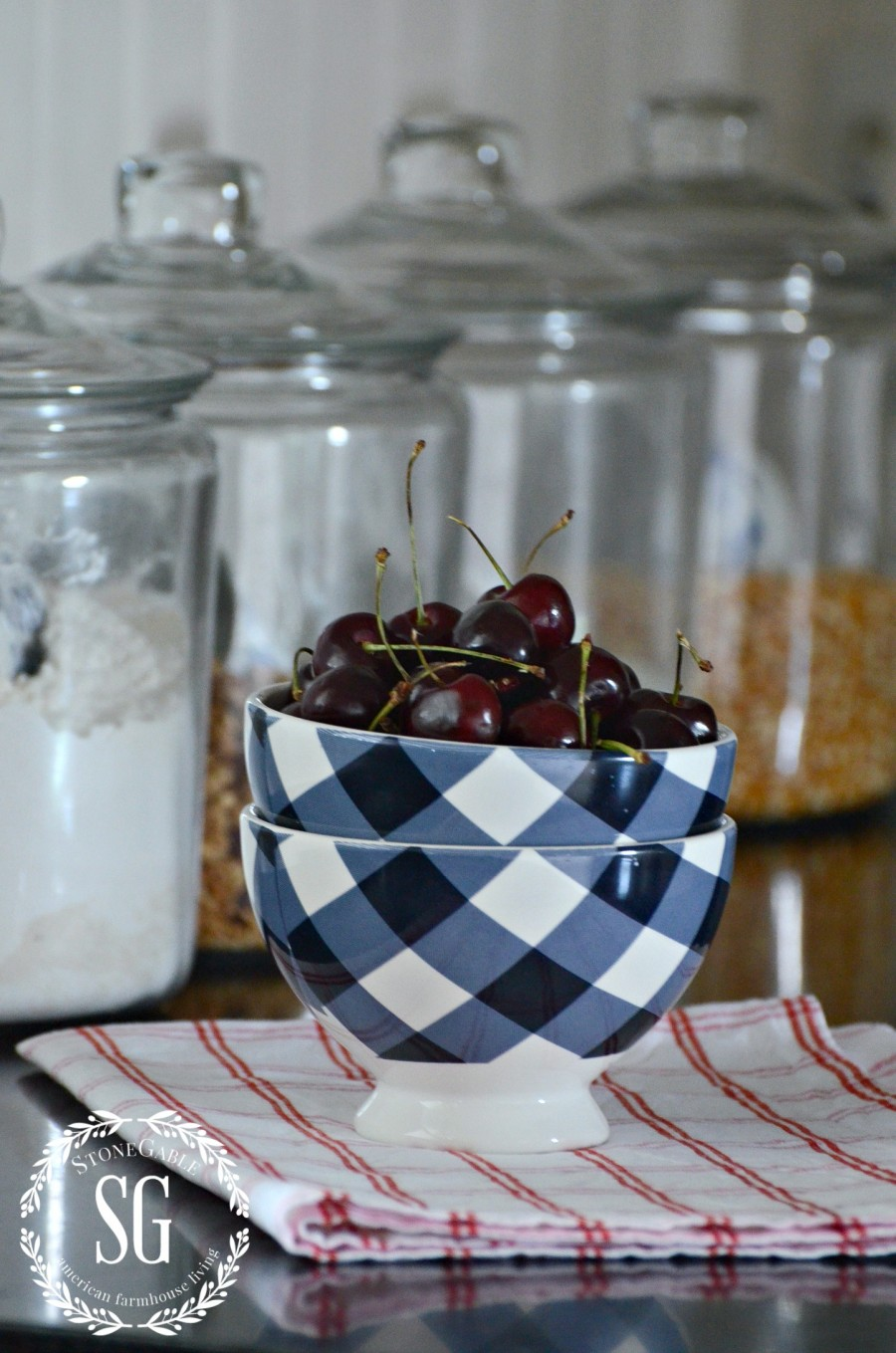 SUMMER HOME TOUR-summer kitchen-cherries-blue and white bowl-stonegableblog.com