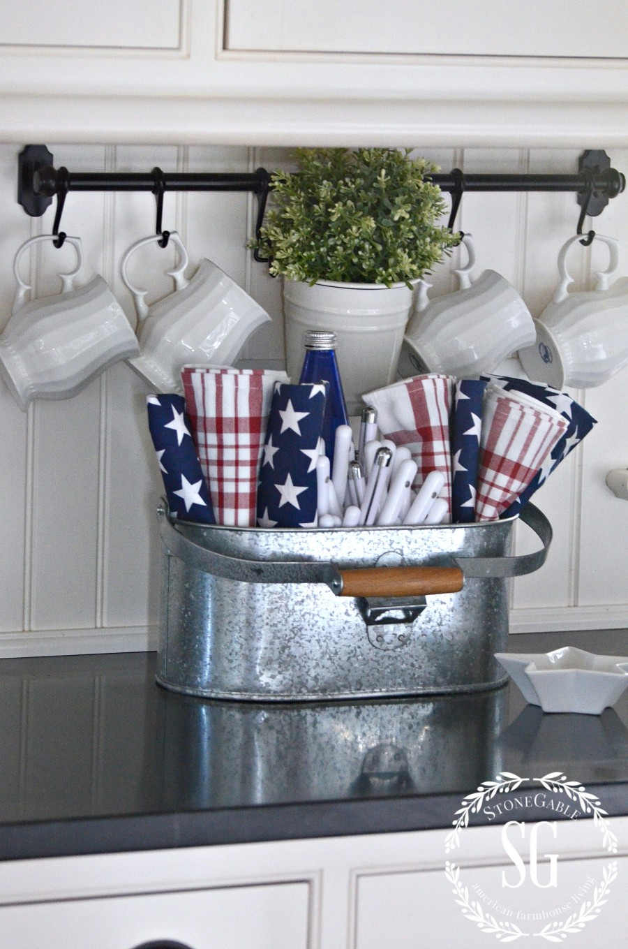 SUMMER HOME TOUR-summer kitchen-galvanized metal-napkins-stonegableblog.com