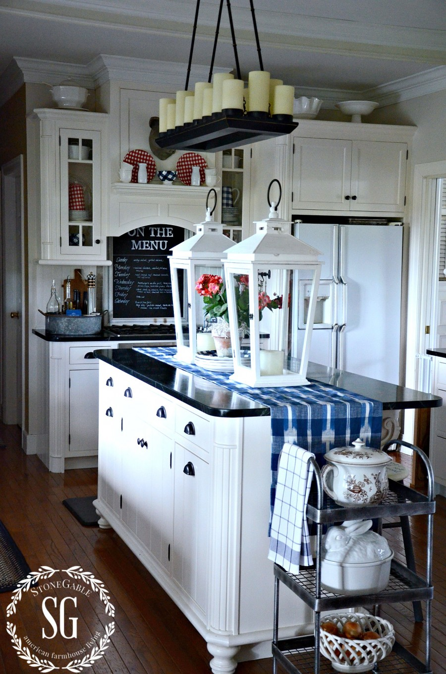 SUMMER HOME TOUR-summer kitchen-island-lanterns-stonegableblog.com