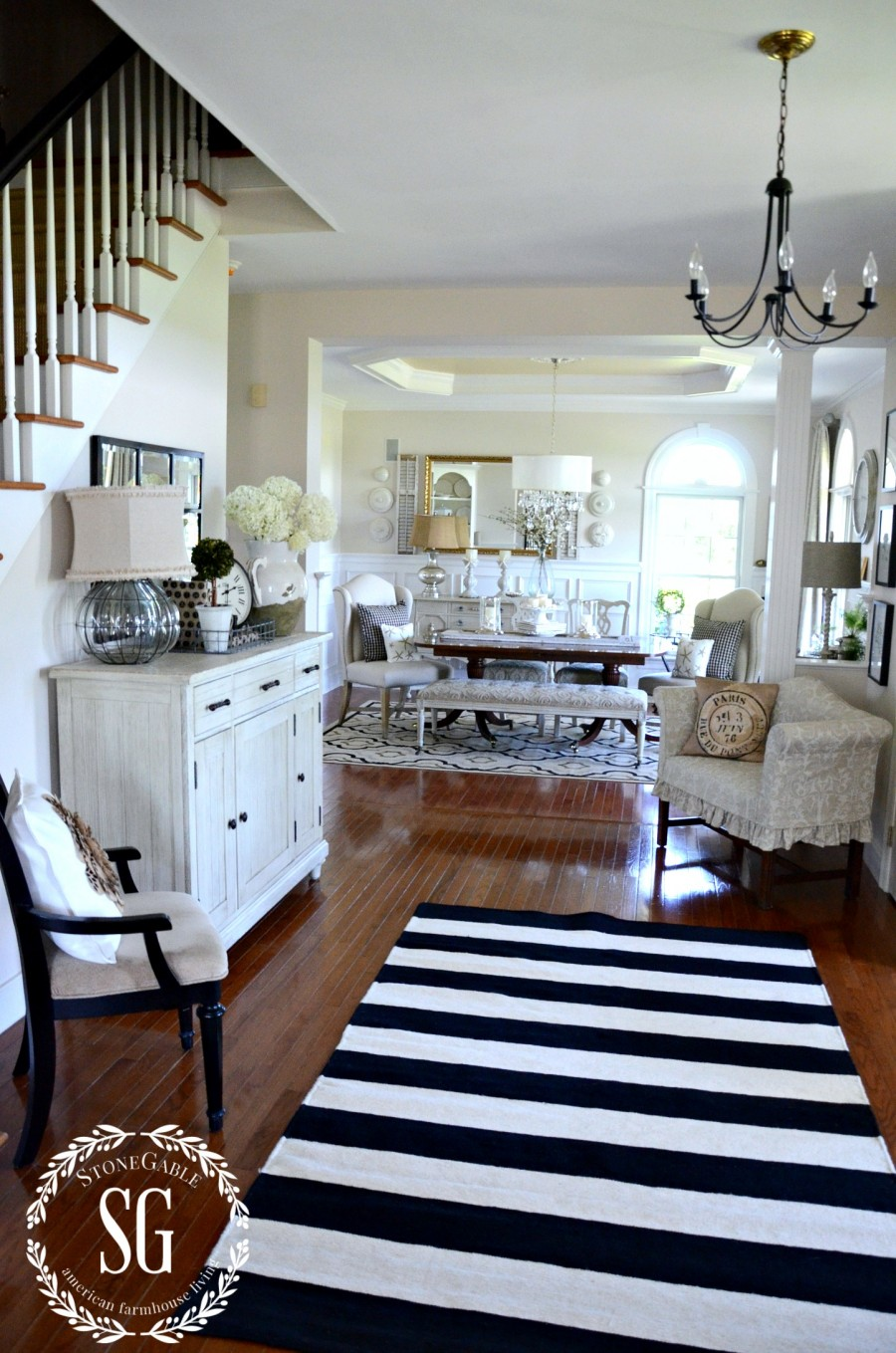 UPDATING THE FOYER WITH A RUG- black and white striped wool rug-stonegableblog.com