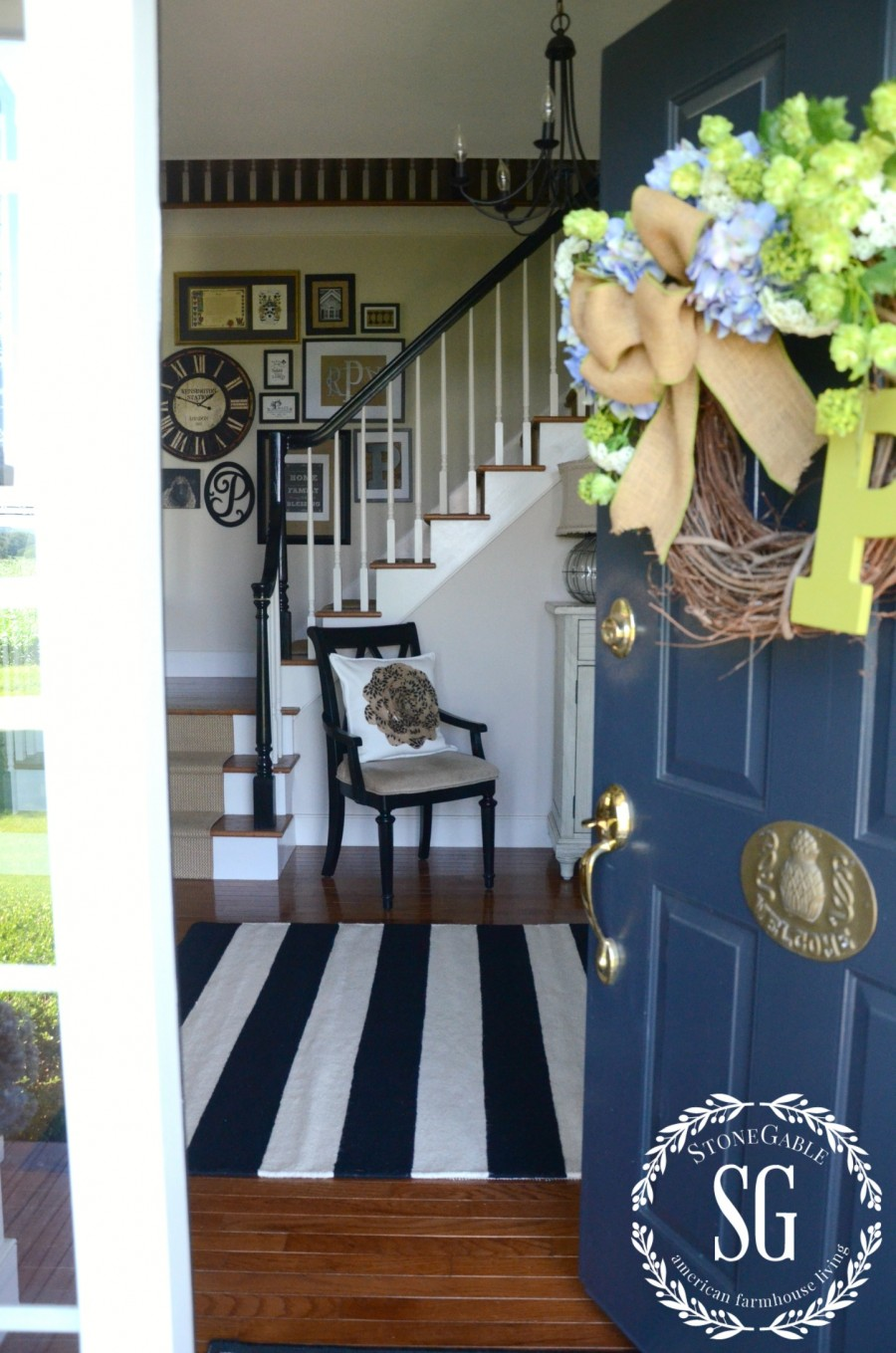 UPDATING THE FOYER WITH A RUG- foyer from the front door-stonegableblog.com