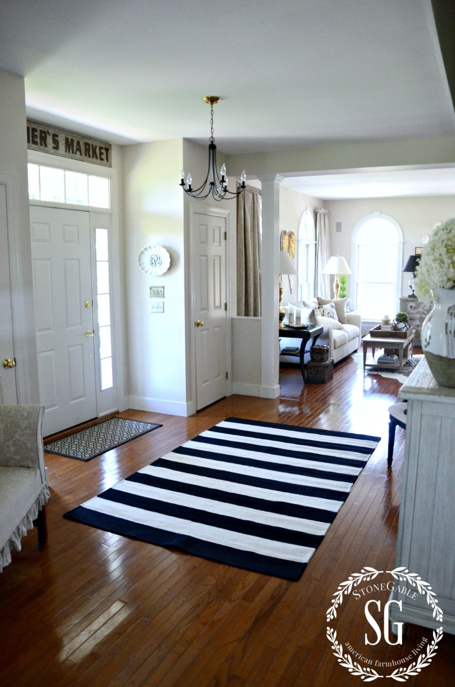 UPDATING THE FOYER WITH A RUG-modern farmhouse-stonegableblog.com