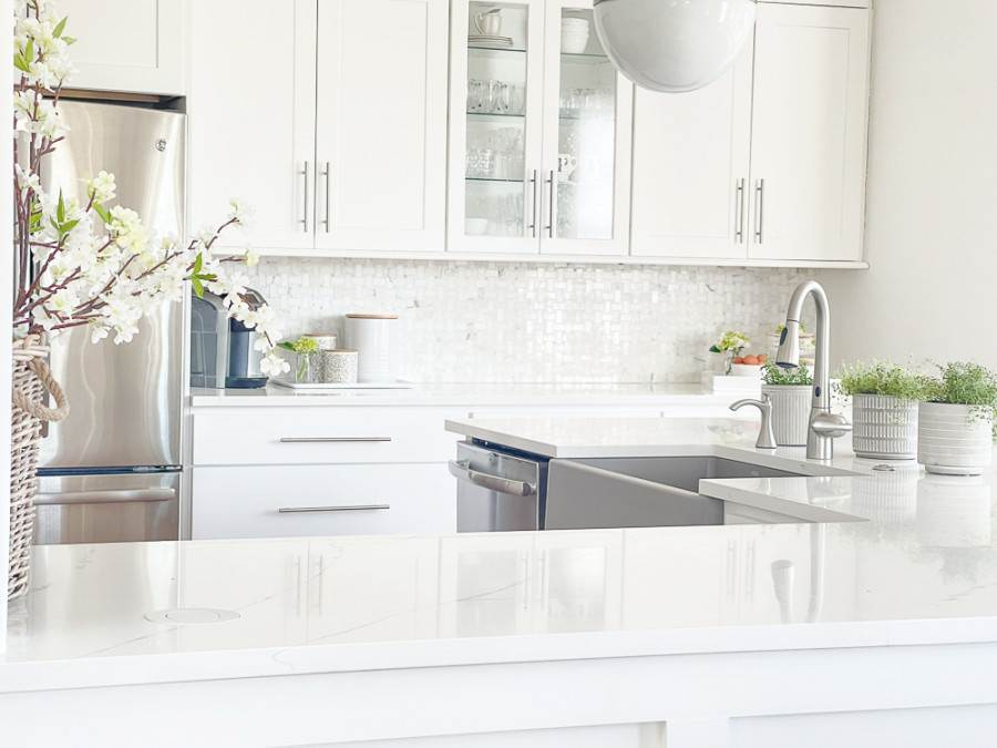 white organized kitchen