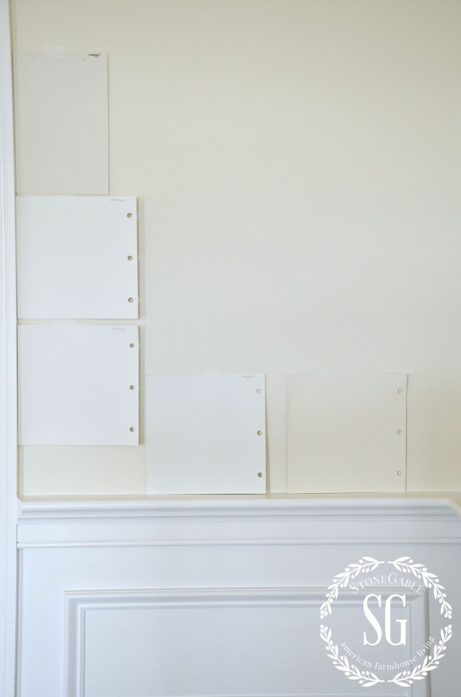 5 TIPS FOR FINDING THE PERFECT PAINT COLOR- try lots of paint color-stonegableblog.com