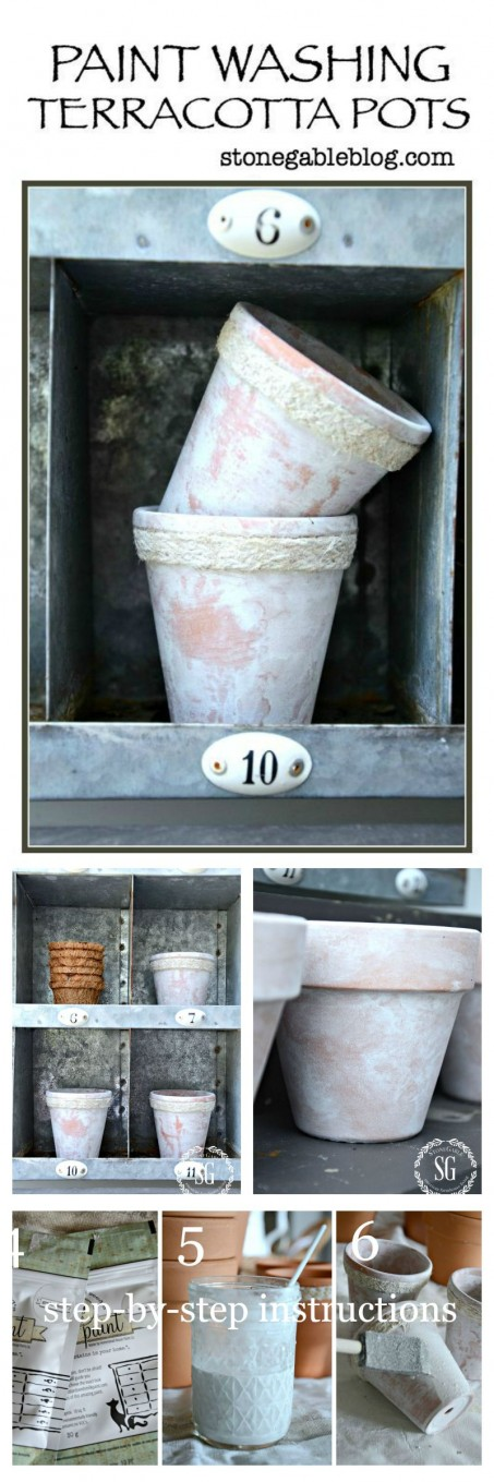 AGING TERRACOTTA POTS-Beautiful realistic looking whitewash. Easy!-stonegableblog.com