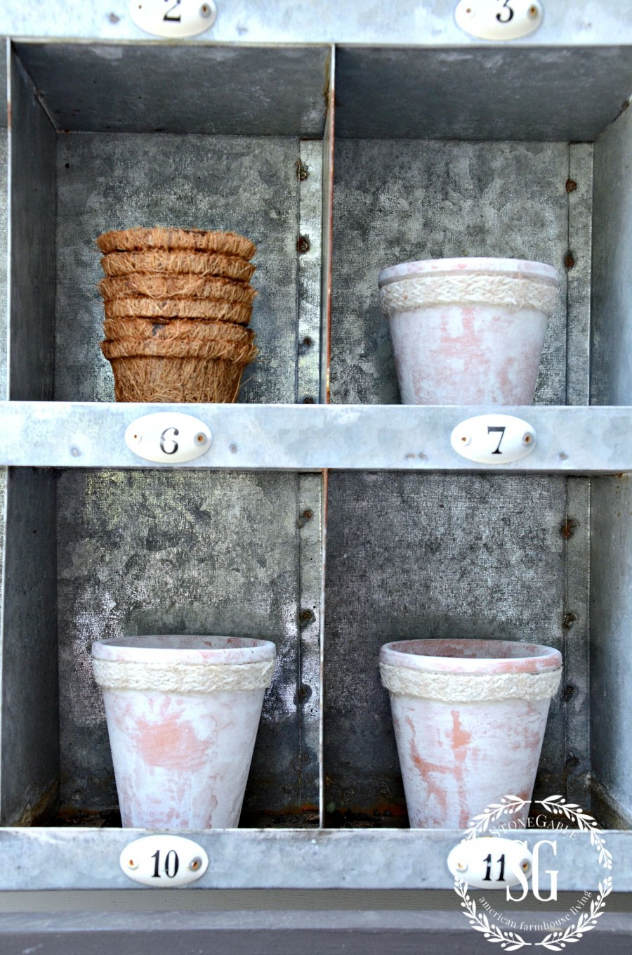 AGING TERRACOTTA POTS WITH MILK PAINT-beautiful patina-stonegableblog.com