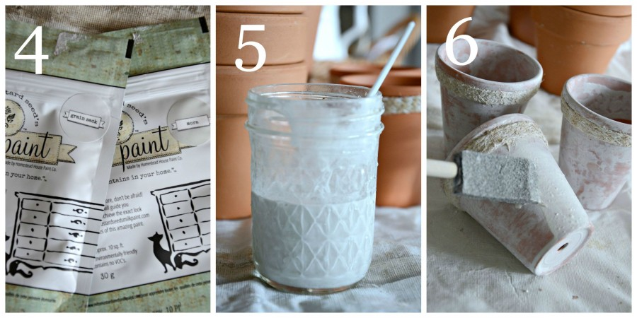 AGING TERRACOTTA POTS WITH MILK PAINT-instructions 4 to 6-stonegableblog.com