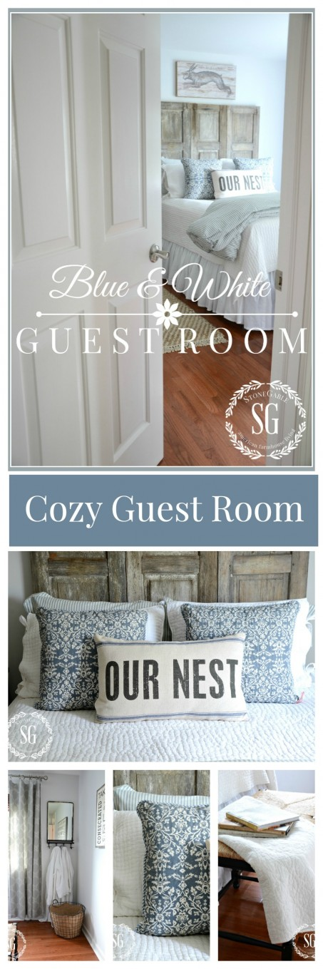 BLUE AND WHITE GUEST ROOM- A cozy guest room with a vintage feel!-stonegableblog.com