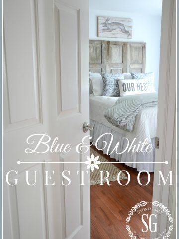 BLUE AND WHITE GUEST ROOM- A quiet little nest for couples-stonegableblog.com