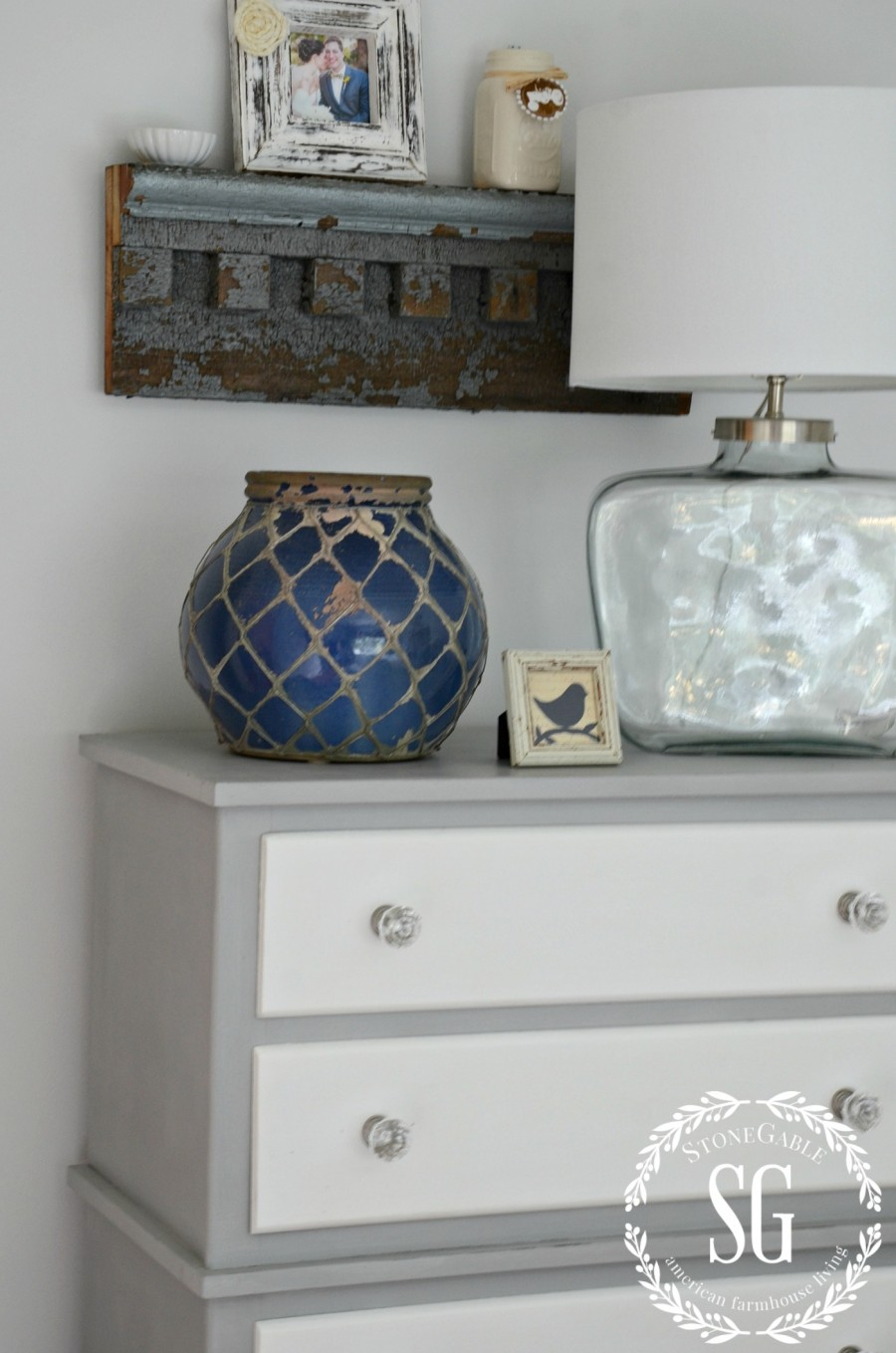 BLUE AND WHITE GUEST ROOM-dresser and lamp-stonegableblog.com
