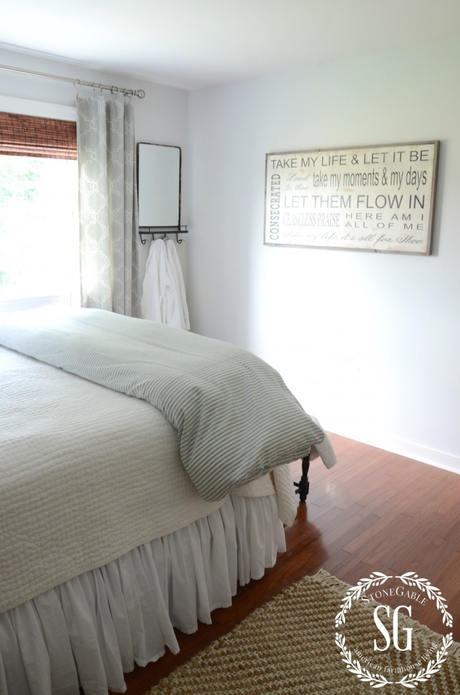 BLUE AND WHITE GUEST ROOM-mirror and robes-stonegableblog.com
