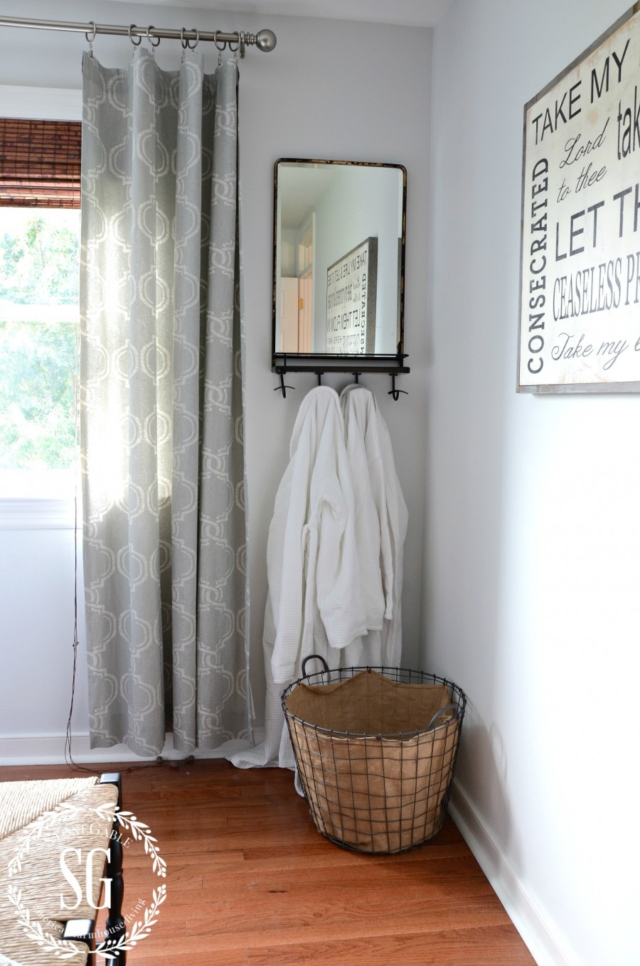 BLUE AND WHITE GUEST ROOM-mirror-sign- and robes-stonegableblog.com