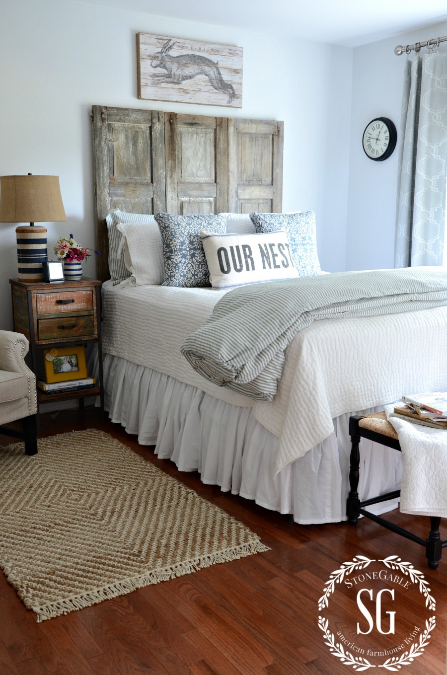 BLUE AND WHITE GUEST ROOM-shutter made headboard-bed-stonegableblog.com