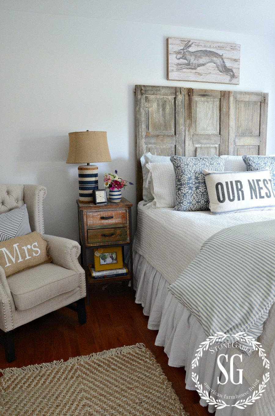 BLUE AND WHITE GUEST ROOM-silver mist wall color-stonegableblog.com