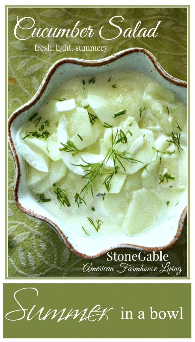CUCUMBER SALAD- An easy summer recipe-stonegableblog.com