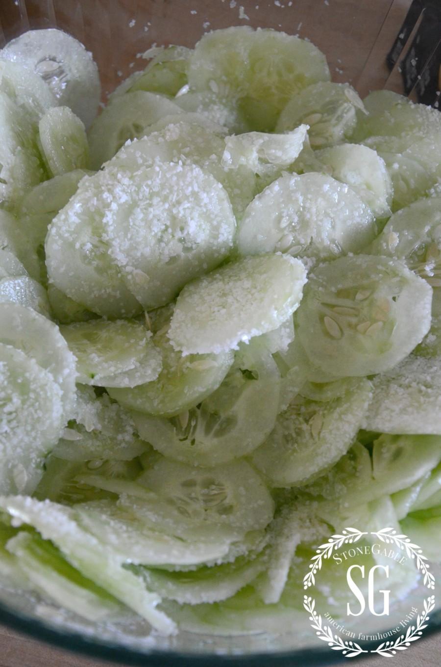 CUCUMBER SALAD-sliced cukes-salted-stonegableblog.com