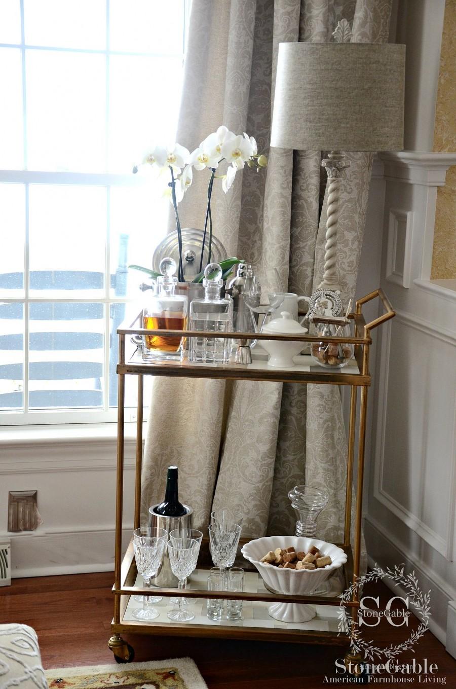 EVOLUTION OF A DINING ROOM-bar cart-stonegableblog.com