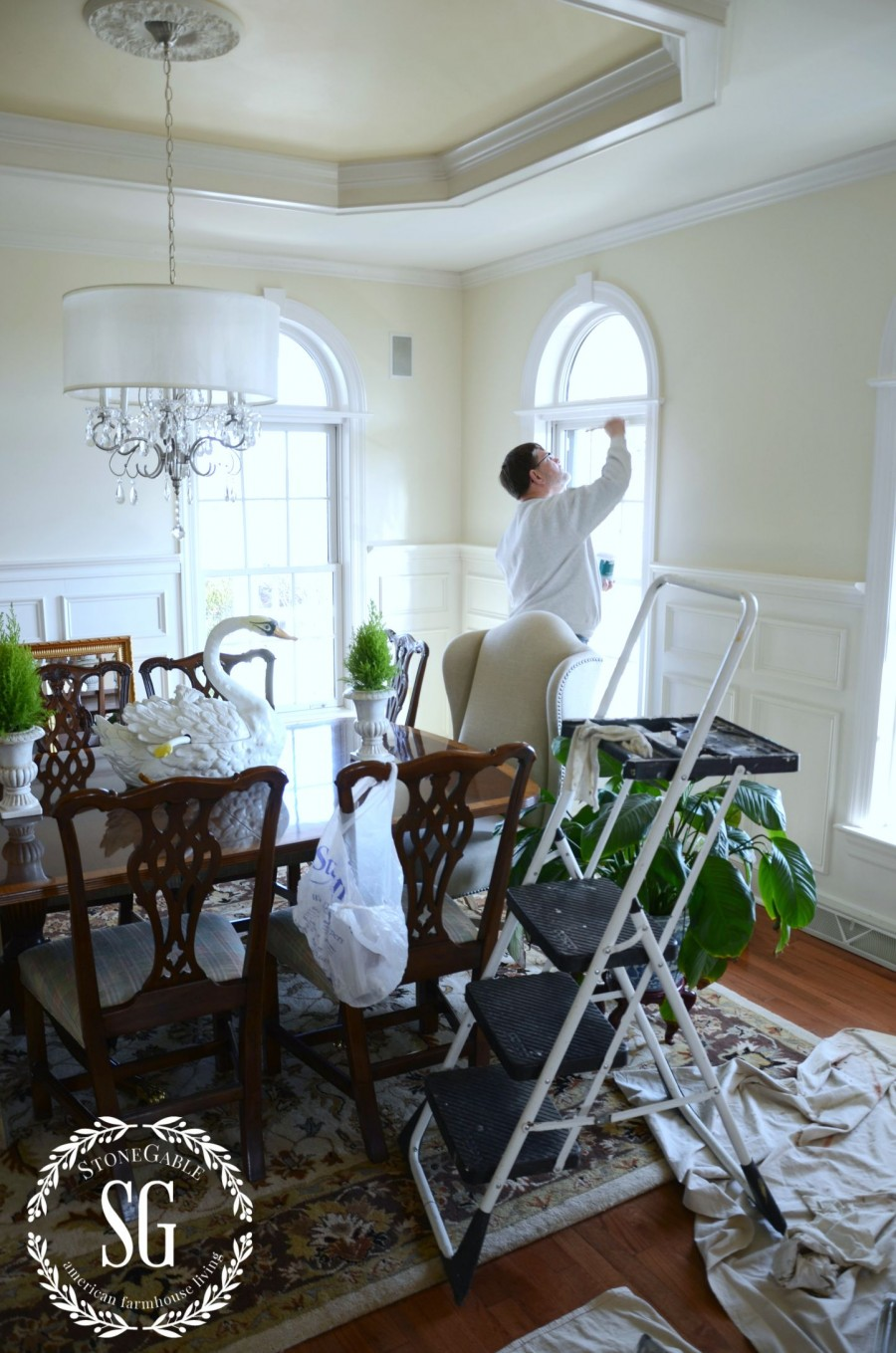 EVOLUTION OF A DINING ROOM-painting the dining room-stonegableblog.com