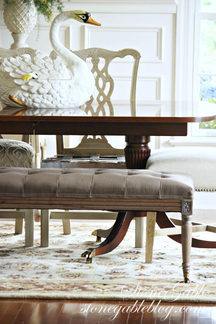 EVOLUTION OF A DINING ROOM-rug and bench-stonegableblog.com