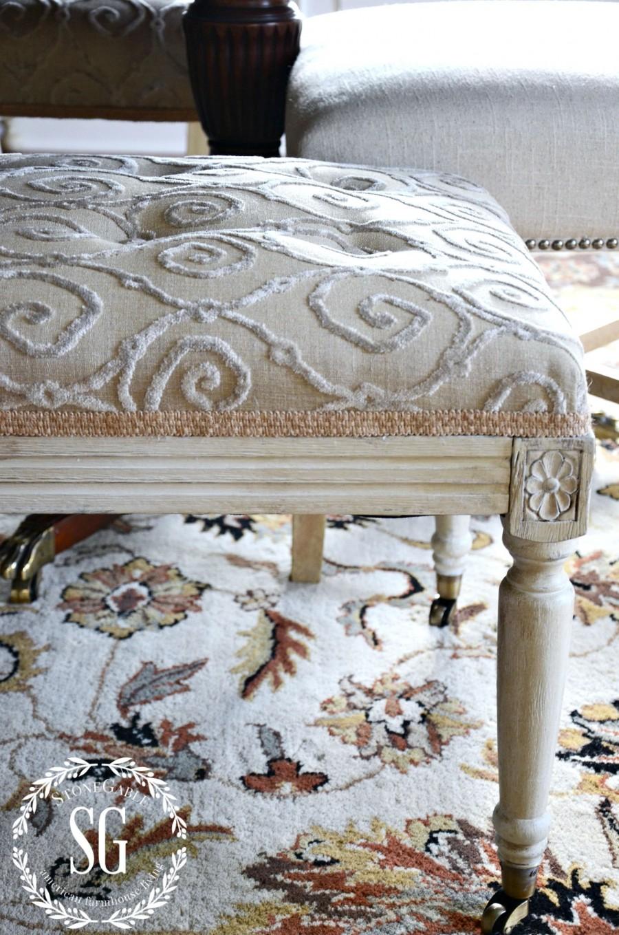 EVOLUTION OF A DINING ROOM-upholstered bench-stonegableblog.com