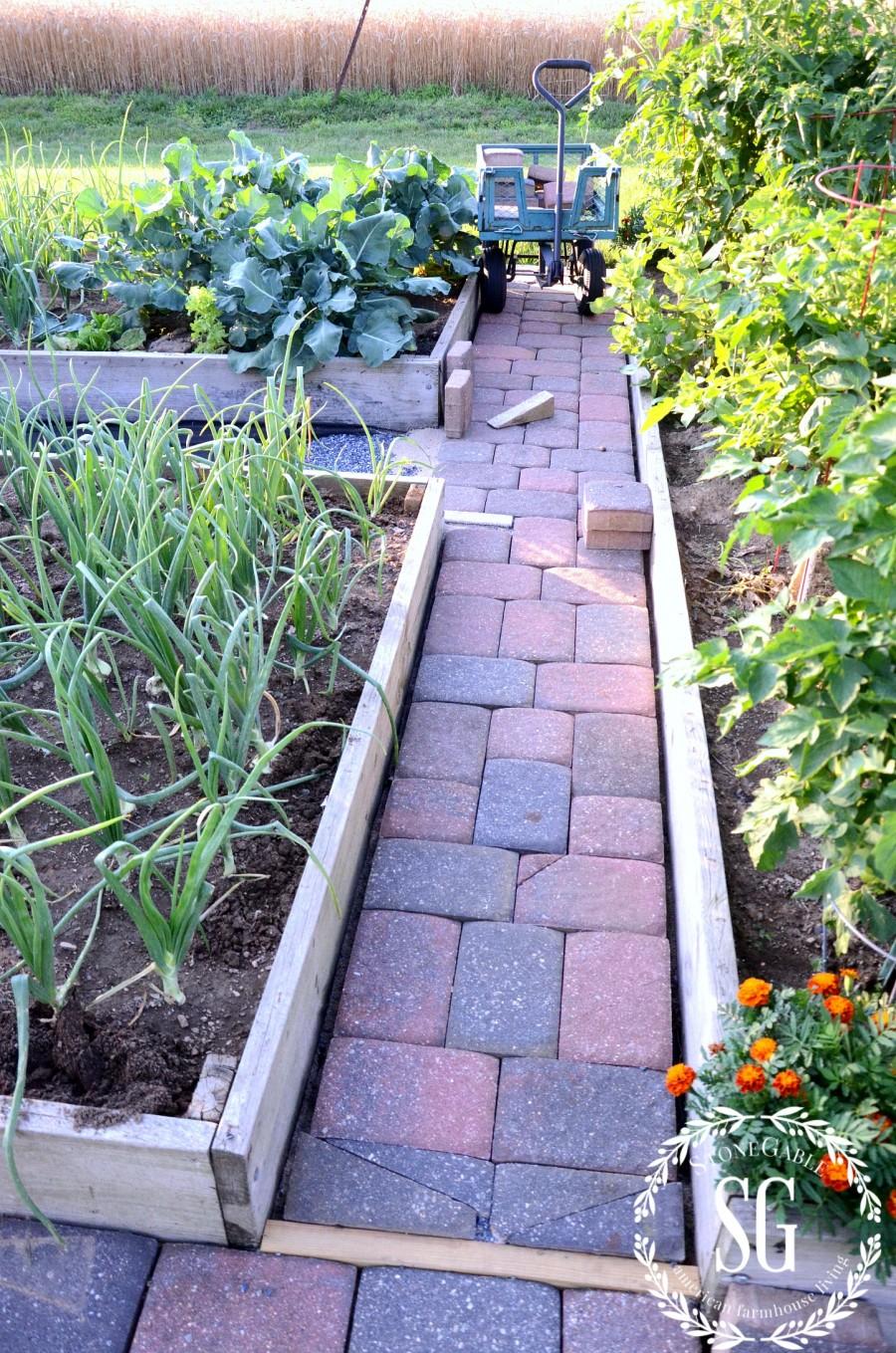 JULY IN THE VEGETABLE GARDEN-garden walkways-stonegableblog.com