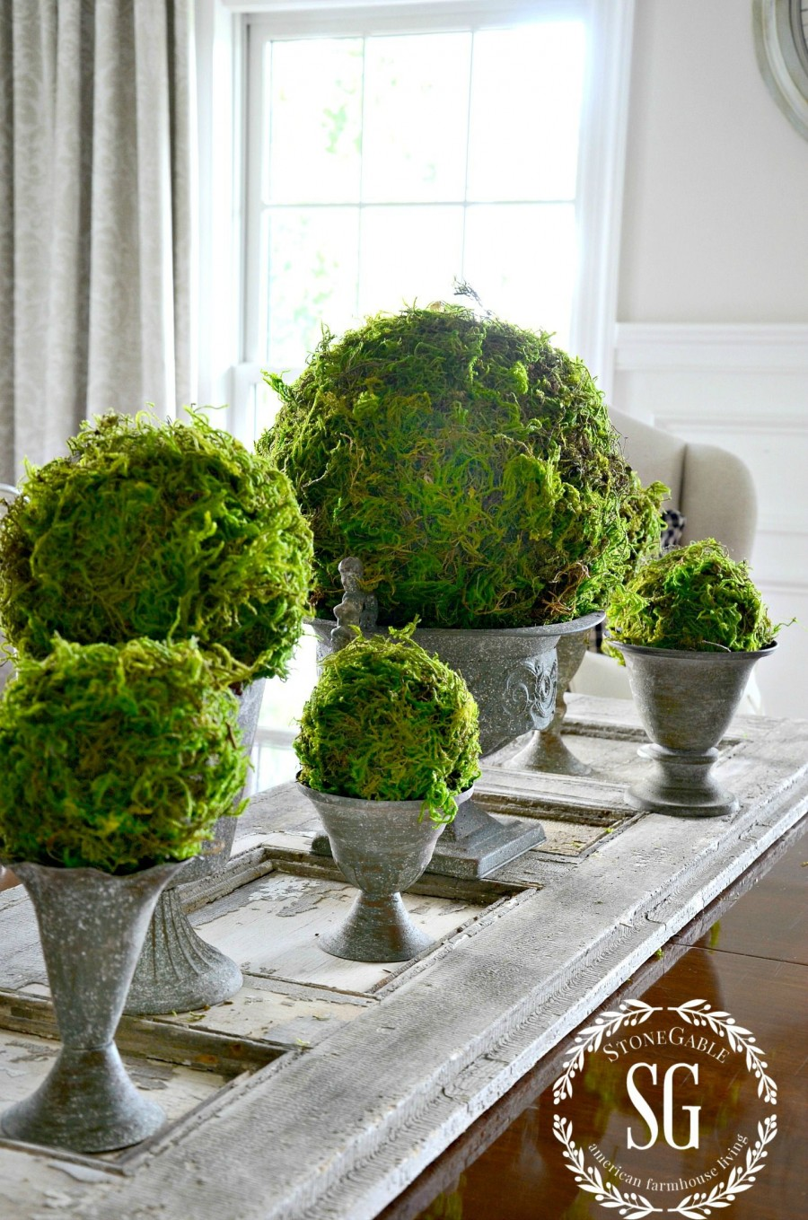 MOSS BALL DIY-grouped together-stonegableblog.com