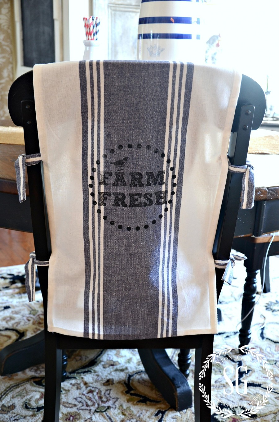 NO SEW CHAIR BACK COVERS-farm fresh-stonegableblog.com
