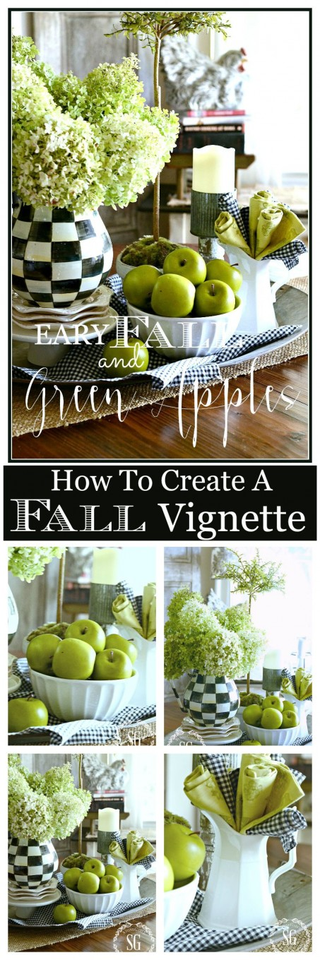 EARLY FALL AND GREEN APPLES- The perfect kitchen table display for early fall. So simple to make-stonegableblog.com