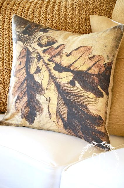 FALL PILLOWS-leaf pillow-stonegableblog.com