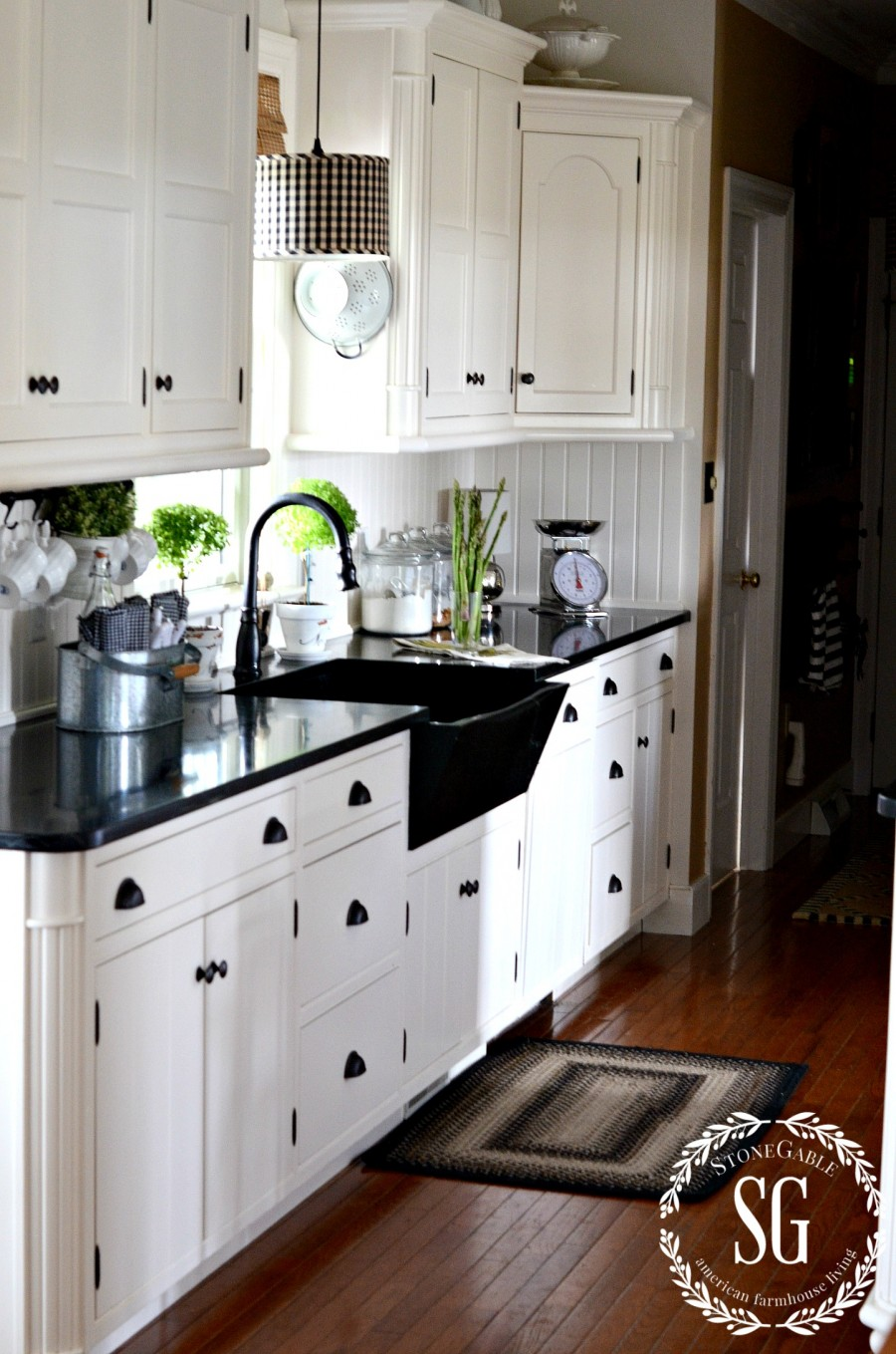 FARMHOUSE KITCHEN -white cabinets-soapstone counters-stonegableblog.com