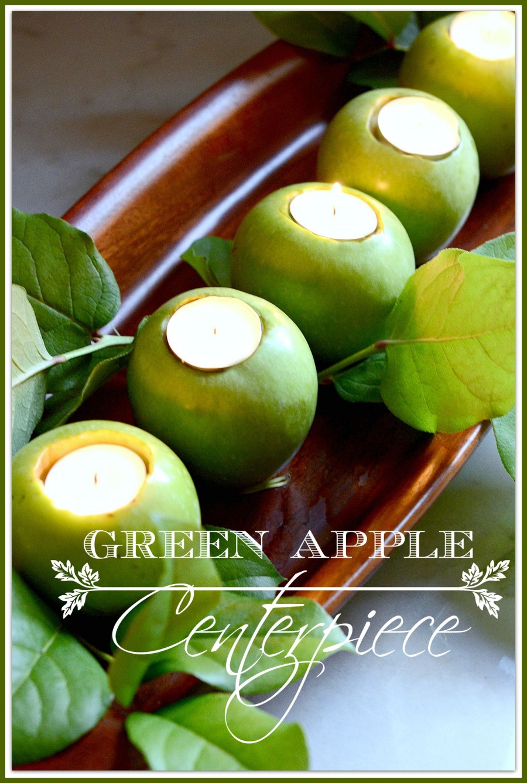 GREEN APPLE CENTERPIECE- a 10 minute apple centerpiece-stonegableblog.com