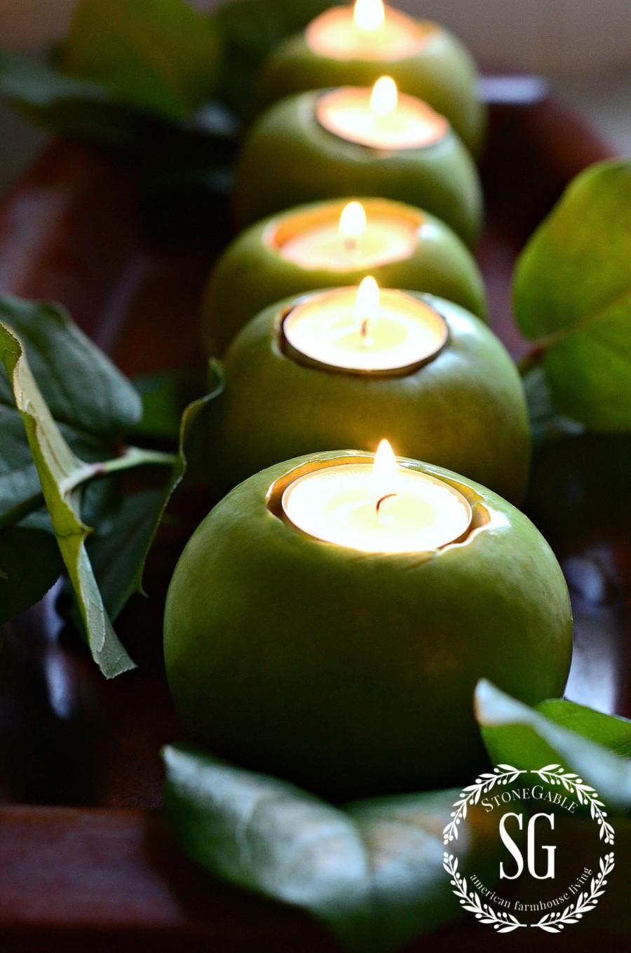 GREEN APPLE CENTERPIECE-apples in a row-stonegableblog.com