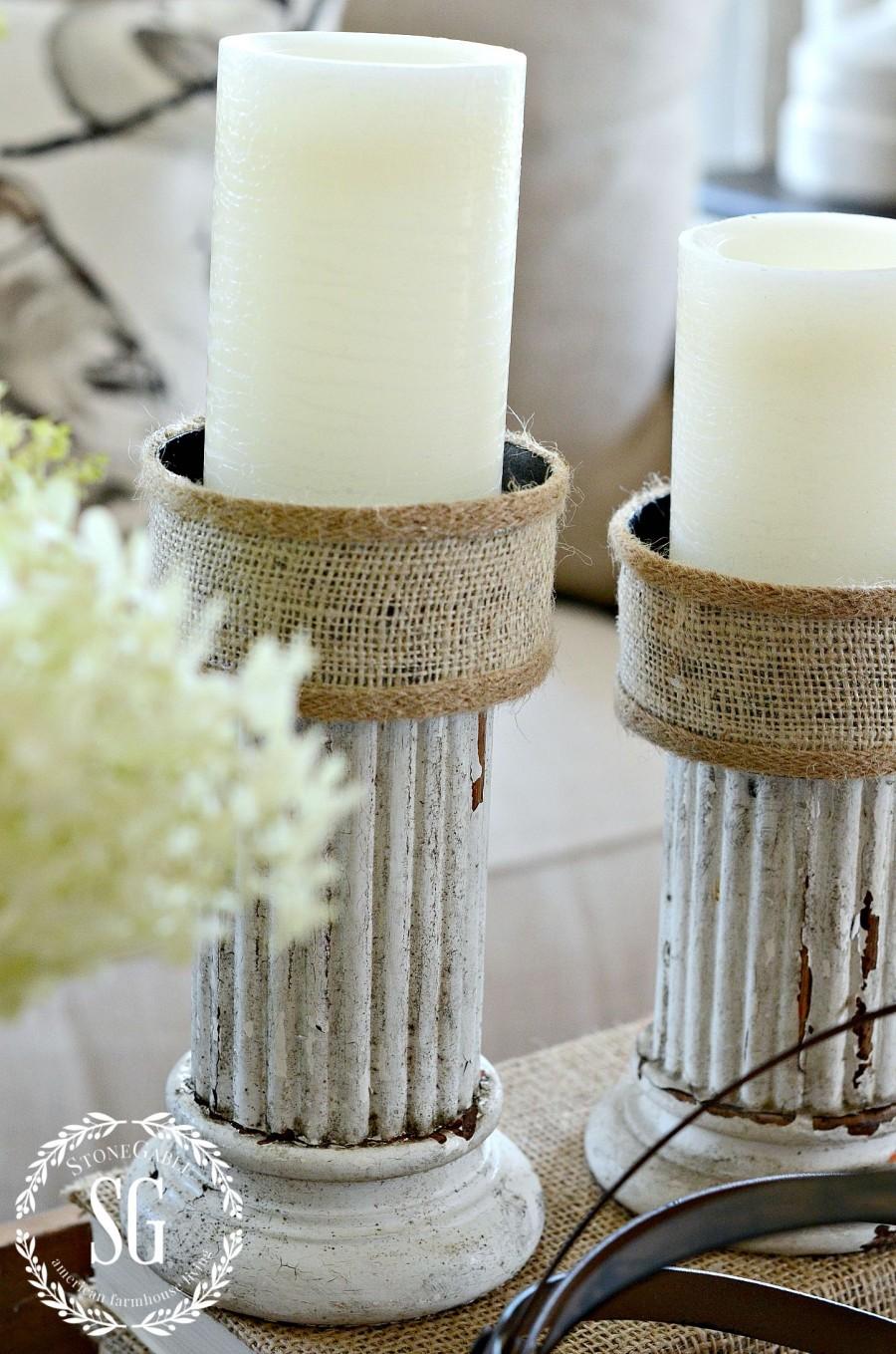 HOW TO CREATE A TRANSITIONAL VIGNETTE-chippy candlesticks- stonegableblog.com