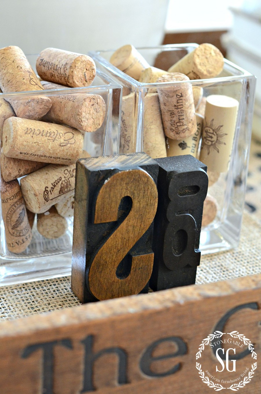 HOW TO CREATE A TRANSITIONAL VIGNETTE-corks and typeset letters- stonegableblog.com