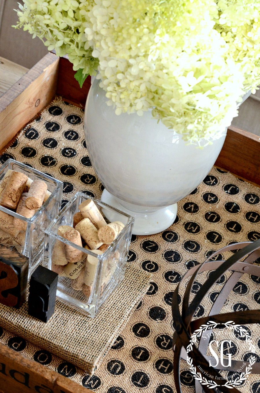 HOW TO CREATE A TRANSITIONAL VIGNETTE-crate used as tray- stonegableblog.com
